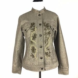 Chico's Gold Jean Embroidered Jacket Roomy 0/XS